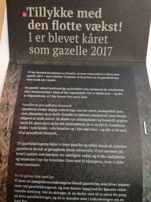 Følgebrev fra Børsen vedr. Gazelle 2017